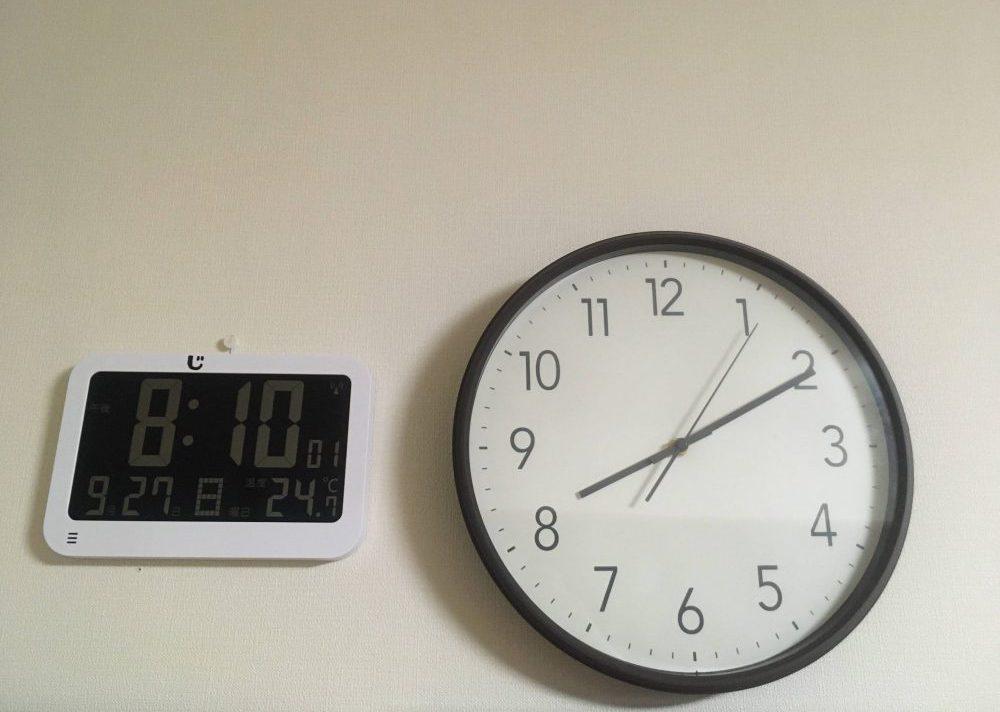 年長児のアナログ時計の読み方練習にデジタルとアナログを並べてみた